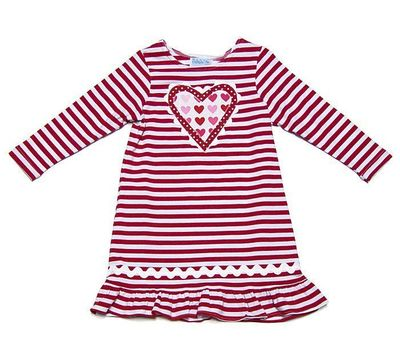 Funtasia Too Baby Girls Red Striped Knit Dress - Valentine's Heart
