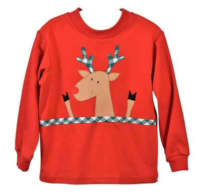 Funtasia Too Boys Christmas Reindeer on Red Shirt
