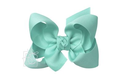Girls Grosgrain Double Knot Bow on Clip - Aquamarine