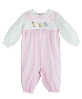 Petit Ami Baby Girls Pink Romper with Embroidered Animals