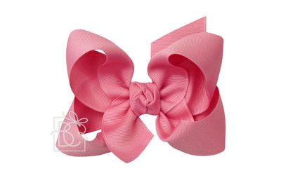 Girls Grosgrain Double Knot Bow on Clip - Hot Pink