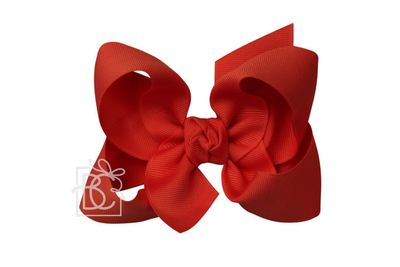 Girls Grosgrain Double Knot Bow on Clip - Red