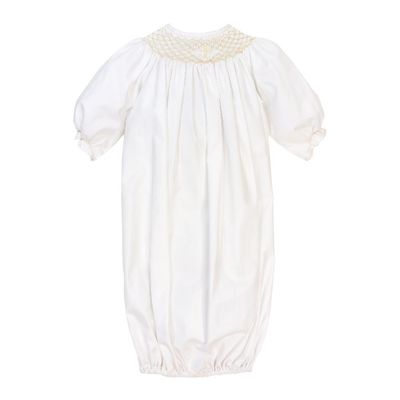 The Bailey Boys Newborn Baby Girls Smocked Cross Christening Sack Gown - Girls