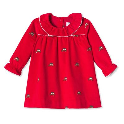 Classic Prep Baby / Toddler Girls Elsa Dress - Crimson Red with Embroidered Christmas Tree Woodies