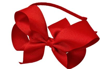 Girls Ribbon Wrapped Headband with Extra Large Grosgrain Bow - Red