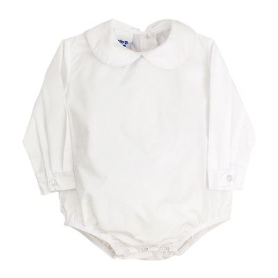The Bailey Boys White Piped Shirt Onesie - Long Sleeves - Boys