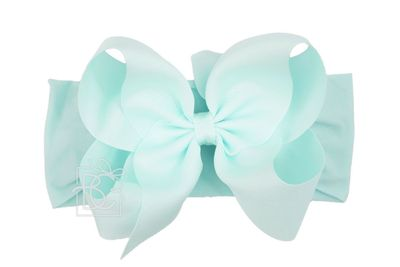 Girls Wide Pantyhose Headband with Attached Extra Large Grosgrain Bow - Aquamarine