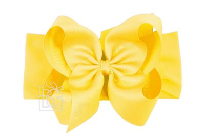 Girls Wide Pantyhose Headband with Attached Extra Large Grosgrain Bow - Bright Yellow