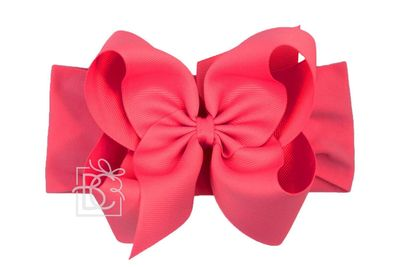 Girls Wide Pantyhose Headband with Attached Extra Large Grosgrain Bow - Fuchsia