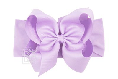 Girls Wide Pantyhose Headband with Attached Extra Large Grosgrain Bow - Light Orchid