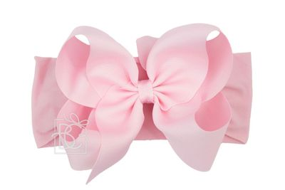 Girls Wide Pantyhose Headband with Attached Extra Large Grosgrain Bow - Light Pink