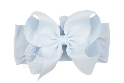 Girls Wide Pantyhose Headband with Attached Extra Large Grosgrain Bow - Millenium Blue