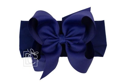 Girls Wide Pantyhose Headband with Attached Extra Large Grosgrain Bow - Navy Blue