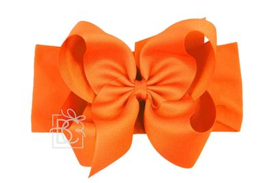 Girls Wide Pantyhose Headband with Attached Extra Large Grosgrain Bow - Orange