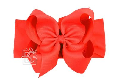 Girls Wide Pantyhose Headband with Attached Extra Large Grosgrain Bow - Red