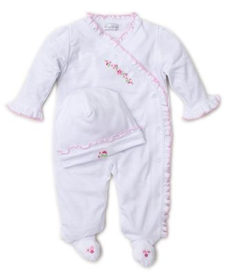 Kissy Kissy Baby Girls Garden Treasure White Ruffle Footie - Pink Embroidery - Includes Hat
