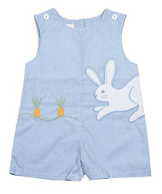 Petit Ami Baby Boys Blue Check Applique Easter Bunny Shortall