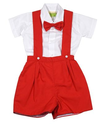 Le Za Me Baby / Toddler Boys Suspender Shorts Set - Shirt & Bow Tie - Red