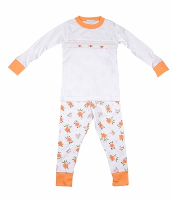 Magnolia Baby Little Girls Orange Fall Floral Autumn's Classics Smocked Pajamas