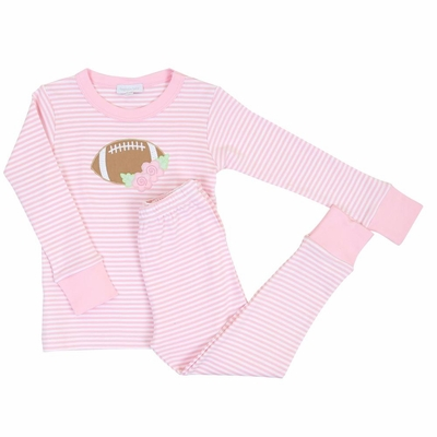 Magnolia Baby Girls Football Fan Applique Pajamas - Pink
