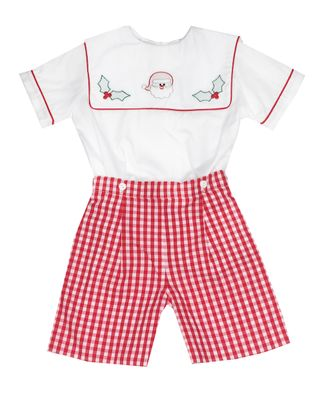 Marco & Lizzy Toddler Boys Red Check Embroidered Santa Short Set