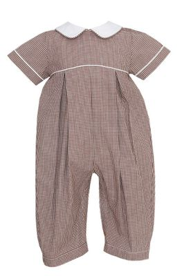 Petit Bebe Baby Boys Brown Check Long Romper with Collar