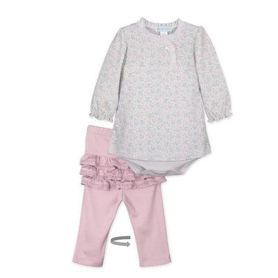 Feather Baby Girls Pink Avery  Crossover Toosie Ruffle Pant Set