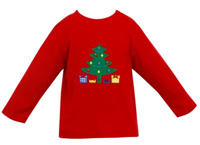 Claire & Charlie Boys Red Shirt - Green Christmas Tree