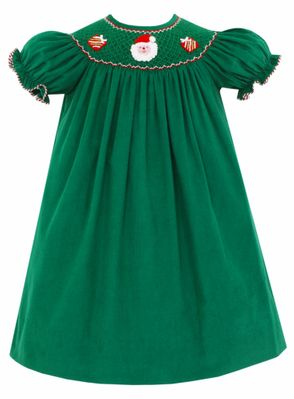 Claire & Charlie Baby / Toddler Girls Kelly Green Corduroy Smocked Santa Dress - Bishop