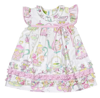 Le Za Me Baby / Toddler Girls Pink Tea Party Print Dress with Ruffles
