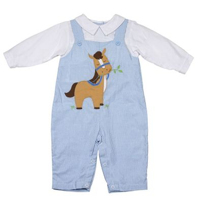 Petit Ami Baby Boys Blue Longall with Shirt - Brown Horse