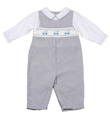 Petit Ami Baby Boys Gray Check Longall with Shirt - Smocked Trucks