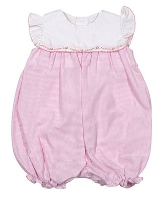 Petit Ami Baby Girls Pink Check Embroidered Bubble
