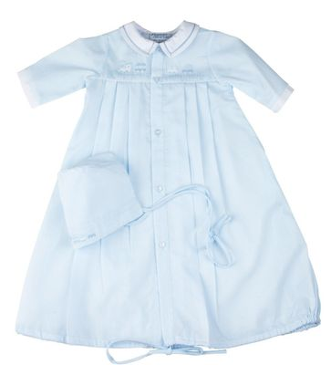 Feltman Brothers Newborn Baby Boys Take Me Home Gown - Blue with Train