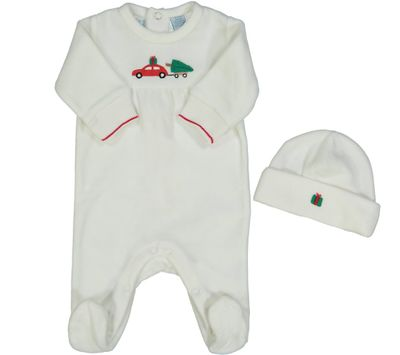 Feltman Brothers Baby Boys Ivory Velour Christmas Tree Car Footie with Hat