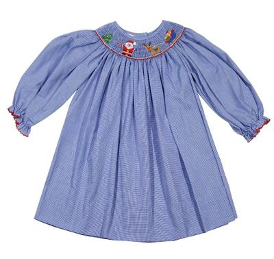 Petit Bebe Baby / Toddler Girls Royal Blue Check Smocked Santa Sleigh Dress - Long Sleeves