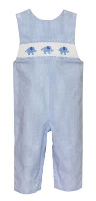 Petit Bebe Baby Boys Blue Check Smocked Elephants Longall
