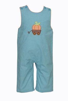 Petit Bebe Baby Boys Turquoise Check Longall - Applique Pumpkin