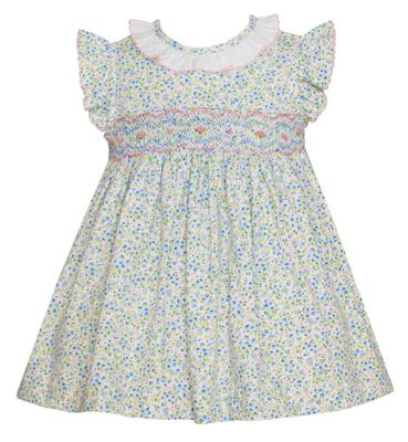 Petit Bebe Knits Baby / Toddler Girls Blue / Pink Petite Fleurs Knit Smocked Dress