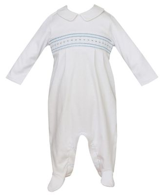 Petit Bebe Knits Baby Boys White Footie - Smocked in Blue