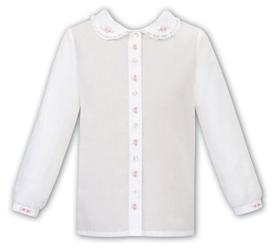 Sarah Louise Girls Ivory Blouse - Lace Trim - Pink Embroidery