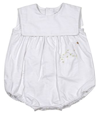 Sophie & Lucas Baby Girls Oxford Dot White Bubble with Flower Embroidery Pocket