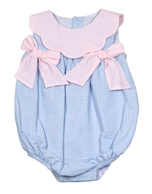 Sophie & Lucas Baby Girls Sherbet Scallop Bubble - Blue with Pink Bows