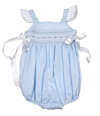 The Best Dressed Child Baby / Toddler Girls Smocked Bubble - Flutter Sleeves & Side Bows - Pastel Blue
