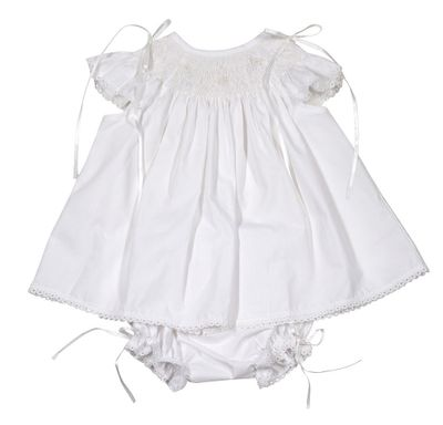 The Best Dressed Child Baby Girls Sweet White Smocked Bloomers Set - Trimmed in Bows & Lace