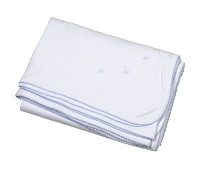 The Proper Peony Layette Pima Cotton Receiving Blanket - White with Blue Embroidery