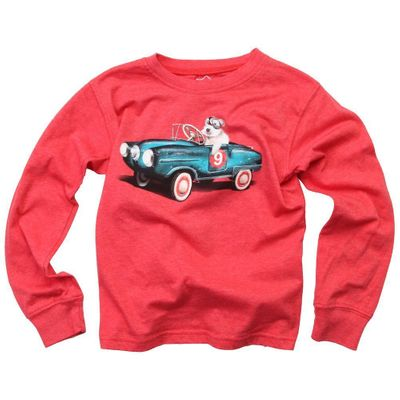 Wes & Willy Boys Red Race Car Driver Dog Shirt