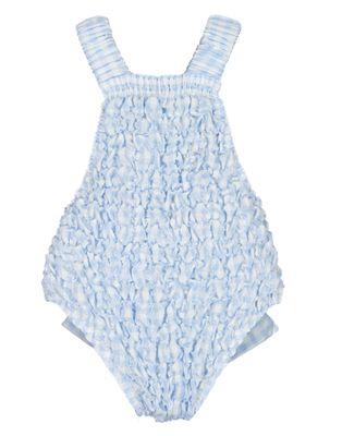 Sal & Pimenta Girls Frilled Swimsuit - Bluebell Blue Gingham - Crossback with Bow