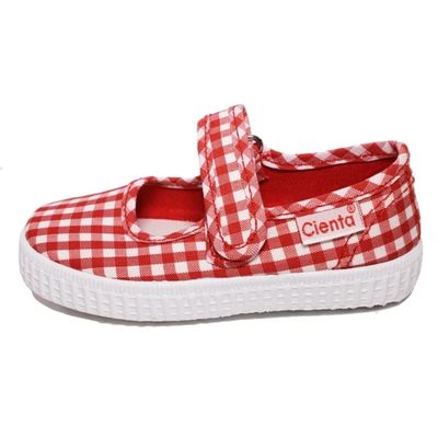 Cienta Shoes Girls Canvas Mary Janes - Gingham - Red