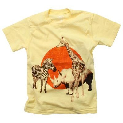 Wes & Willy Boys Butter Yellow Tee Shirt - Safari Animals